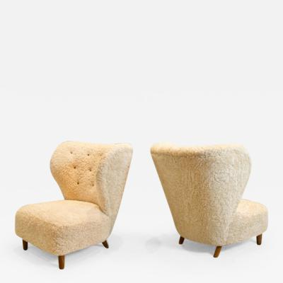 Pair of Scandinavian Low Chairs in Shearling 1940s