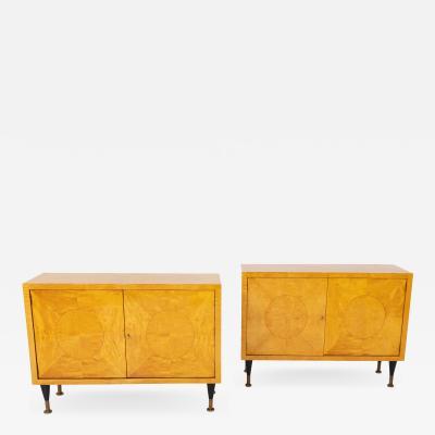 Pair of Scandinavian Mid Century Two Door Low Cabinets