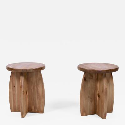 Pair of Scandinavian Modern Pine Stools Sweden 1950s
