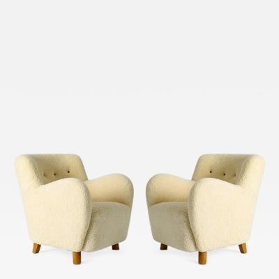 Pair of Scandinavian Sheepskin Lounge Chairs