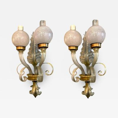 Pair of Sconces Reticello by Seguso Murano 1940