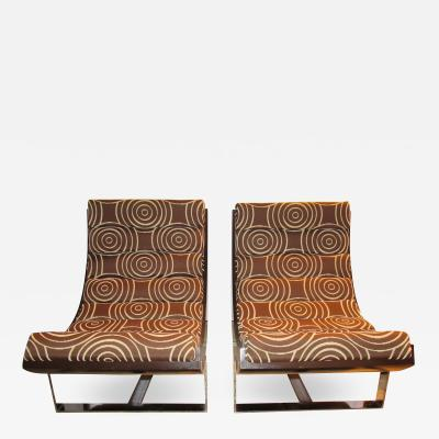 Pair of Scoop Lounge Chairs Mid Century Modern France 1970s