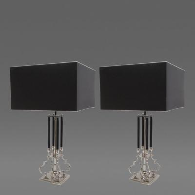 Pair of Scrolled Metal Four Column Lamps