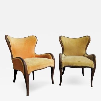 Pair of Sculptural Armchairs with Mahogany Frames