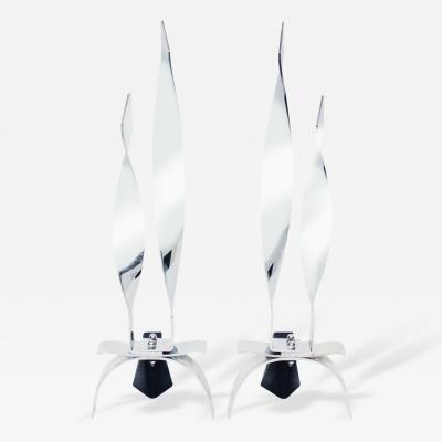 Pair of Sculptural Chrome Flame Andirons