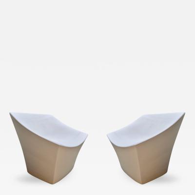 Pair of Sculptural Fiberglass Outdoor Chairs