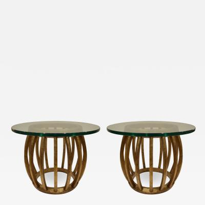 Pair of Sculptural Gilded Wood Side Tables with Glass Tops 1960s