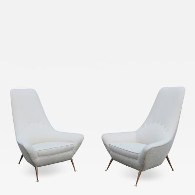 Pair of Sculptural Italian Tall Back Armchairs