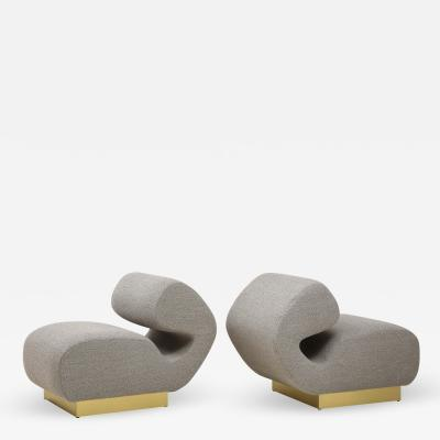 Pair of Sculptural Lounge Chairs in Grey Boucle Fabric and Brass Base Italy