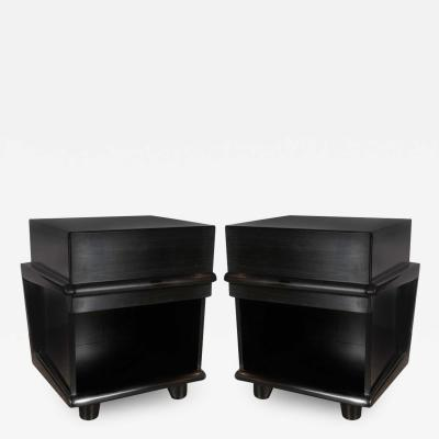 Pair of Sculptural Mid Century Modern Ebonized Walnut Nightstands End Tables