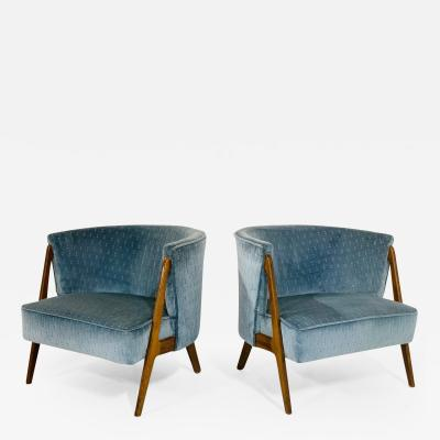 Pair of Sculptural Mid Century Modern Lounge Chairs