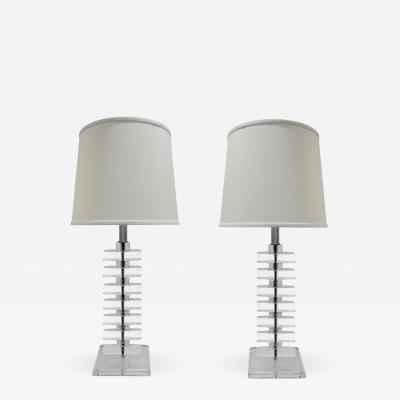 Pair of Sculptural Stacked Lucite Table Lamps 1970s
