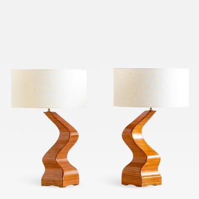 Pair of Sculptural Table Lamps in Lamellar Wood France 1970s