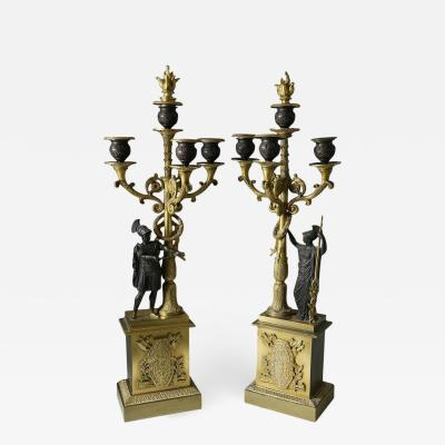 Pair of Second Empire French Gilt and Patinated Bronze Four Light Candelabra
