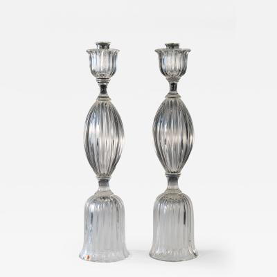 Pair of Seguso candlesticks 3 by John Loring of Tiffany co