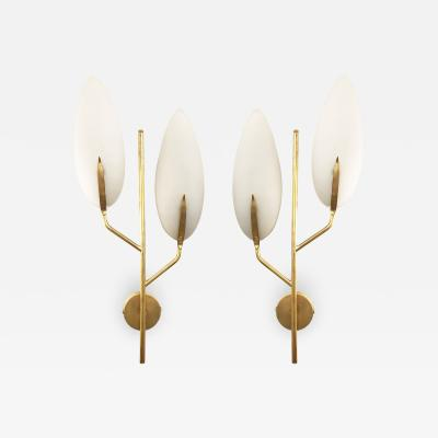 Pair of Shallow Italian Mid Century Sconces