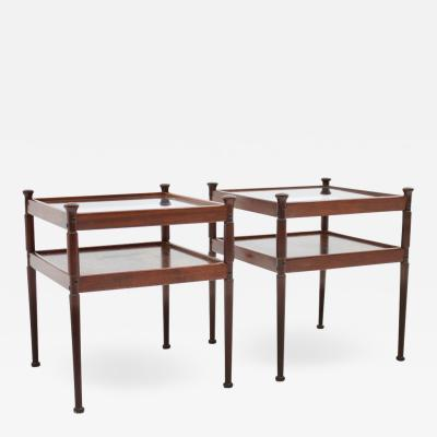 Pair of Side Tables in Rosewood and Glass 1960s