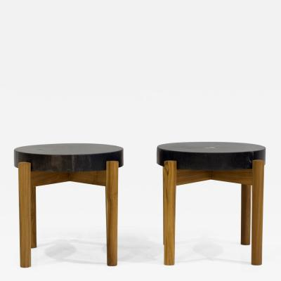 Pair of Side Tables with Wooden Feet and Dark Petrified Wood Top
