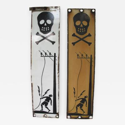 Pair of Skull and Cross Bones Warning Signs
