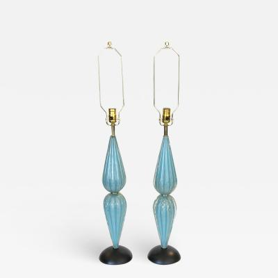 Pair of Sky Blue and Gold Murano Glass Lamps