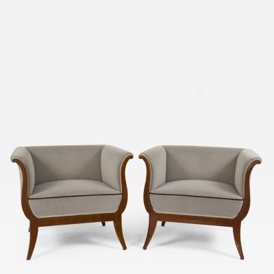 Pair of Sleek Viennese Biedermeier Upholstered Armchairs