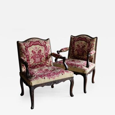 Pair of Small Early 18th Century Louis XV Open Armchairs