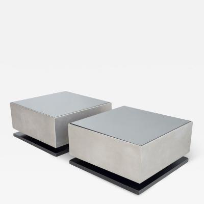 Pair of Small Side Tables with Mirrored Glass Top