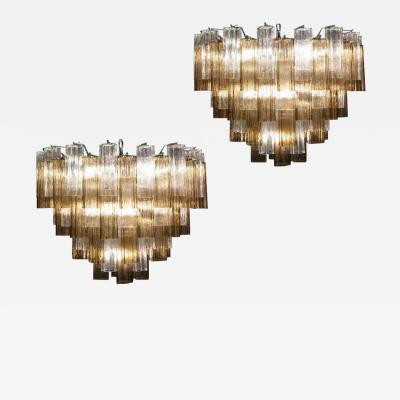Pair of Smoke and Clear Murano Glass Tronchi Chandelier or Ceiling Light