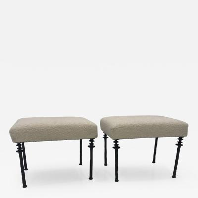 Pair of Sorgue Stools By Bourgeois Boheme Atelier White Cashmere Cushions