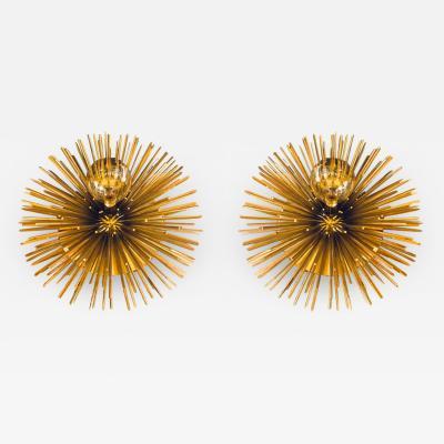 Pair of Space Age Brass Green Murano Glass Half Sputnik Flush Mounts Sconces