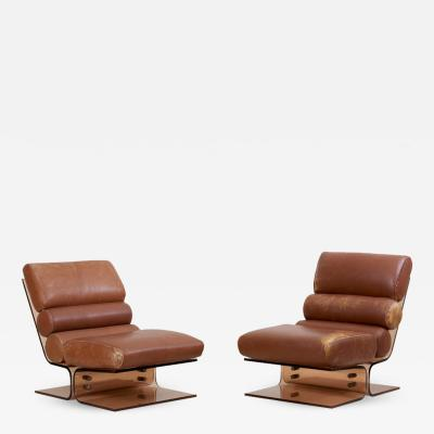 Pair of Space Age Lounge Chairs in Lucite and Leather 1960s