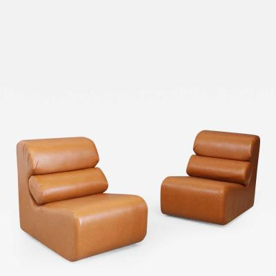 Pair of Space Age armchair in semi skin brown 1970s