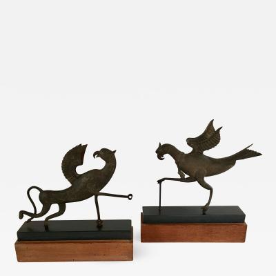 Pair of Spanish 17th 18th Century Iron Mythical Birds