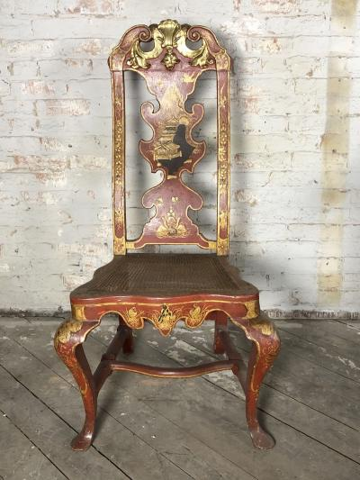 Pair of Spanish early 18th Century Red Lacquer Chairs in the English Taste