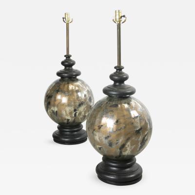 Pair of Spun Metal and Glass Lamps