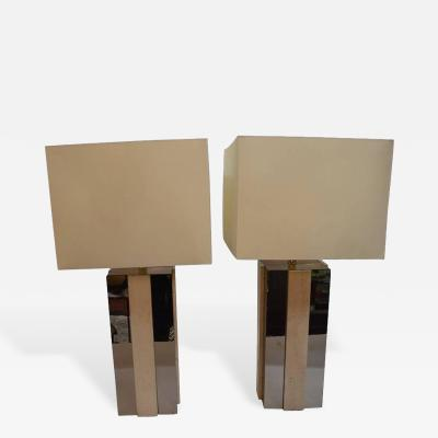Pair of Square Copper Mirror and Travertine Lamps
