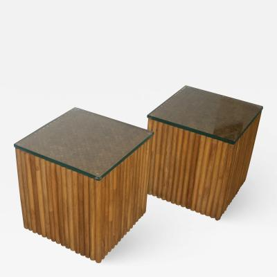 Pair of Square Vintage Rattan Side Tables