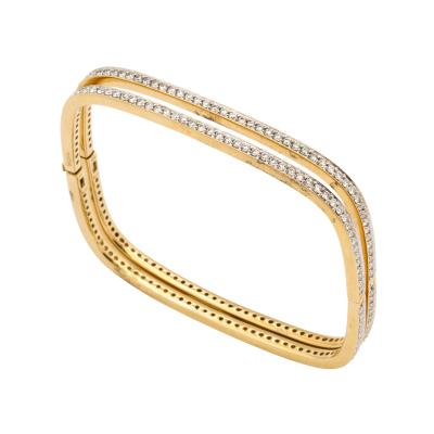 Pair of Square shape Diamond Bangle Bracelets