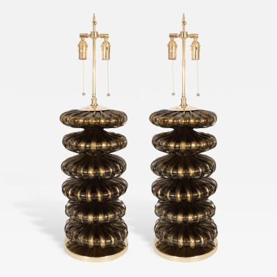 Pair of Stacked Murano Glass Element Lamps