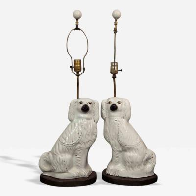 Pair of Staffordshire Spaniel Dogs as Table Lamps