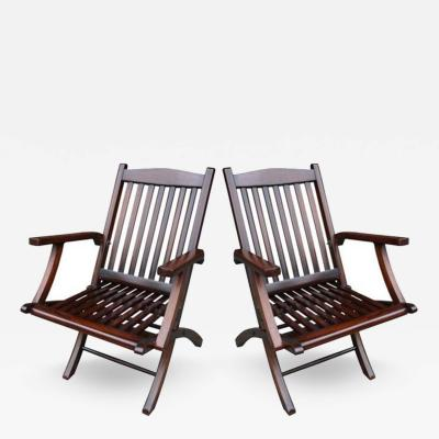 Pair of Steamship Folding Chairs