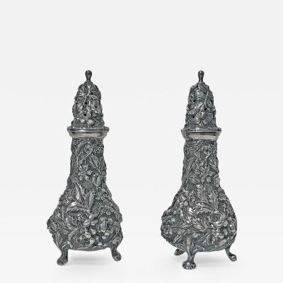 Pair of Stieff Sterling Silver Rose Repousee Casters 1915