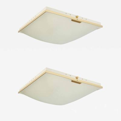 Pair of Stilnovo Flush Mount Ceiling Lights Italy
