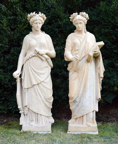 Pair of Stoneware Figures of Muses