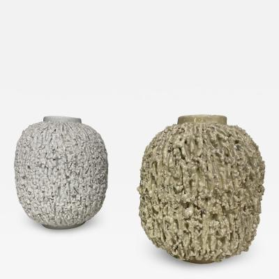 Pair of Stoneware Vases Designed by Gunnar Nylund Sweden 1960s