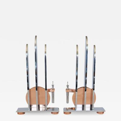 Pair of Streamline Art Deco Andirons in the Manor of Walter Von Nessen