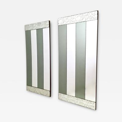 Pair of Striped Rectangular Wall Mirrors with Wooden Frame Italy 1970s