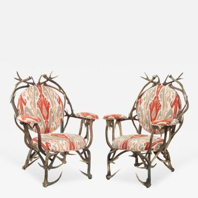 Pair of Studio Made Antler Lounge Chairs