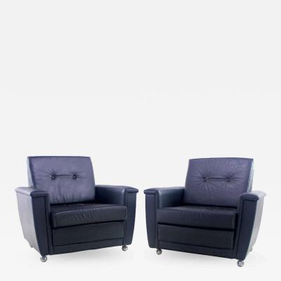 Pair of Stylish Danish Modern Black Leather Armchairs