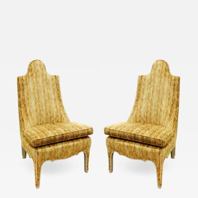 Pair of Stylish Slipper Chairs with Lacquered Wood Trim 1960s